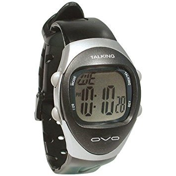 Man's Modern 4 Alarm Talking Watch , Silver and Black by Ovo