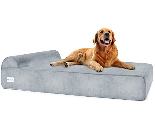 Large Orthopedic Pet Bed for Big Breed Dogs with Head Rest - Soft and Comfortable Memory Foam - Water Resistant - Removable Machine Washable Micro Suede Cover - 50''x32''x7'' -by Petlo by Petlo