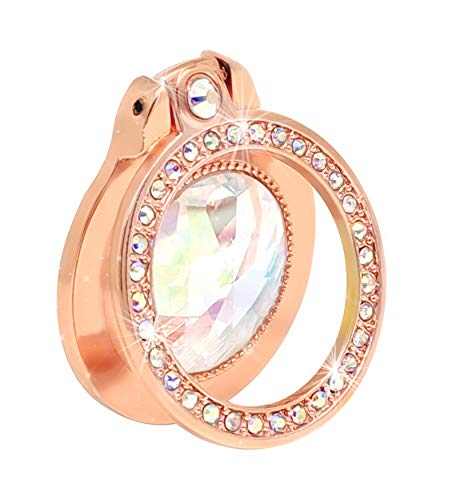 Bling Finger Ring 360° Rotation - ENCORASHOP Thin Universal Cell Phone Ring Stand Holder Kickstand for iPhone X XS MAX, Samsung Galaxy s10 (Rosegold)