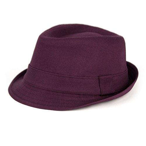 Women's Colorful Cotton Blend Trilby Fedora Hat (Purple)
