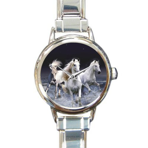 Personalized Watch Wild Black Running Horse in the Water Round Italian Charm stainless steel Watch
