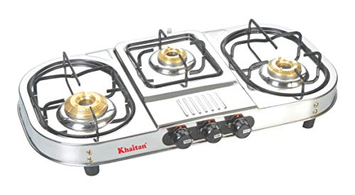 """Khaitan Gas Stove 3 Burner Draw""""Double Decker"""" (with Extra Big Party Cooking Burner) Stainless Steel Price & Reviews"""