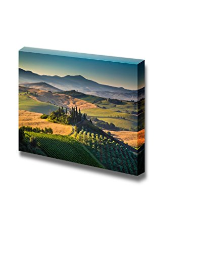 Beautiful Scenery Landscape Scenic Tuscany landscape with rolling hills and valleys in golden morning light Val d Orcia Italy Wall Decor ation