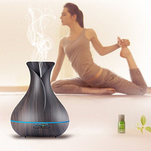 Large Product Image of OliveTech Aroma Essential Oil Diffuser, 400ml Ultrasonic Cool Mist Humidifier with Color LED Lights Changing for Home, Yoga, Office, Spa, Bedroom, Baby Room - Wood Grain