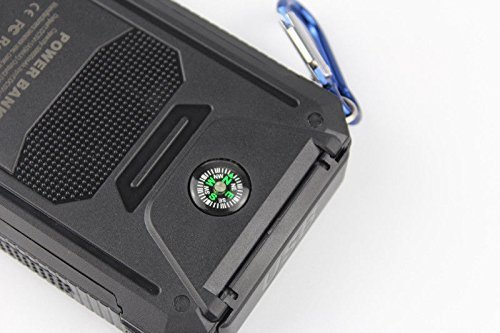 50000mah Solar Power Bank 2 LED 2 USB Battery Charger Waterproof Black & Orange