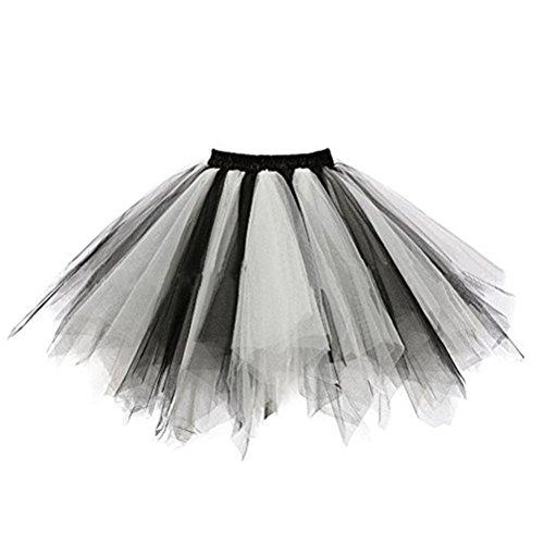 FuweiEncore Femme Tutu Jupe Ballet Jupon Mariage Jupe Courte Style Annes 50 Couleurs Varie pour Femme et Filles Noir+blanc