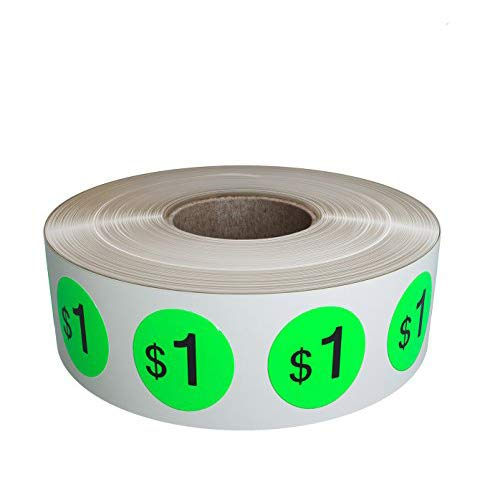 Estate Green Royal (Pricing Stickers Labels in a roll - Price tag Labels 19mm in Neon Green - $1.00 Pack of by Royal Green - 1040 Pack)