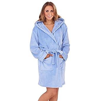 Ladies Super Soft Hooded Fleece Short Dressing Gown Bath Robe Size 8 - 22   Amazon.co.uk  Clothing 242ed3266