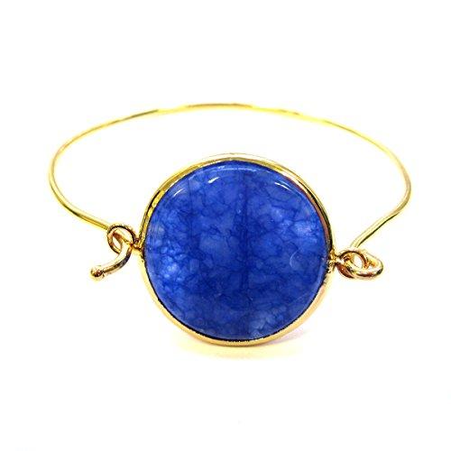 Dark blue jade embeded pendant bangle bracelet 18k yellow gold plated