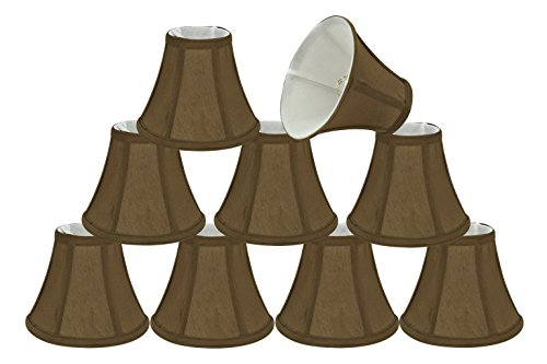 30049-9 Small Bell Shape Chandelier Clip-On Lamp Shade Set (9 Pack), Transitional Design in Light Brown, 6