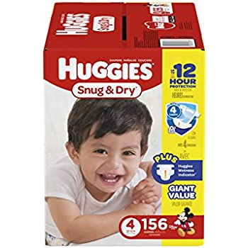 HUGGIES Snug & Dry Diapers, Size 4, 156 Count (Packaging May Vary)