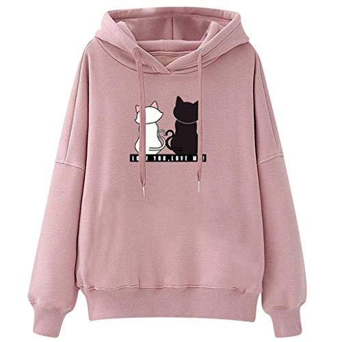 Goiwiejhg Women Junior Girl Hooded Sweater Jumper Hoody Sweater Plus Size Tops Pullover Sweatshirt Student Blouse Tops Pink