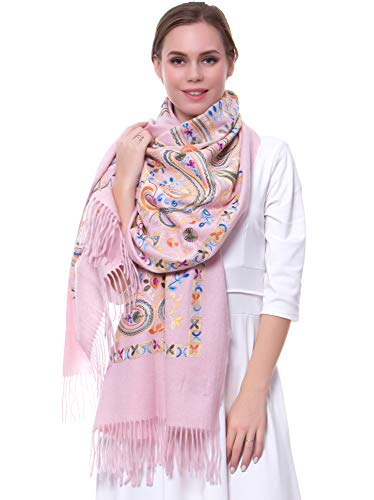 MORCOE Women's Exotic Design Wool Delicate Embroidered Soft Fringe Long Scarf Wrap Ladies Party Shawl Valentines Day Gift (Pink)
