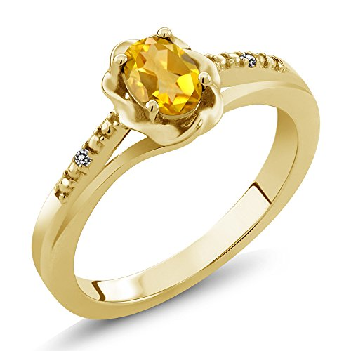 Gem Stone King 0.41 Ct Oval Yellow Citrine White Diamond 18K Yellow Gold Plated Silver Ring (Size 9) ()