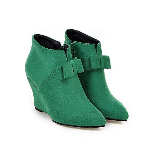 Zehe High geschlossene Heels Reißverschluss AgooLar nachgeahmte Stiefel Wildleder Spitze grün knöchelhohe Frauen qXw7nxp