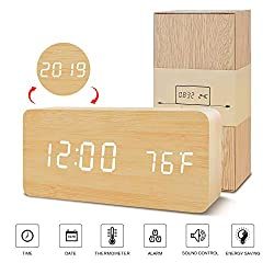 BlaCOG Digital Alarm Clock, Adjustable Brightness Voice Control Desk Wooden Alarm Clock, Large Display Time Temperature/Date/USB/Battery Powered for Home, Bedroom, Office, Kids Bamboo/White