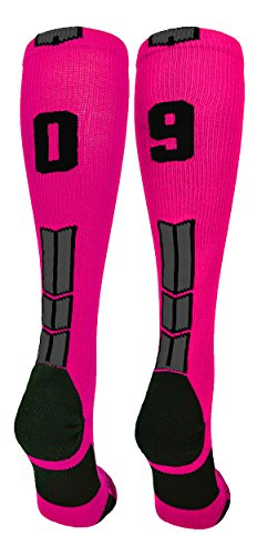 - MadSportsStuff Neon Pink/Black Player Id Over the Calf Number Socks (#09, Small)
