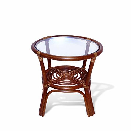Round Coffee Table w/ Glass Top Natural Rattan Wicker ECO Handmade, Cognac