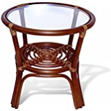 Round Coffee Table w/ Glass Top Natural Rattan Wicker ECO Handmade, Cognac