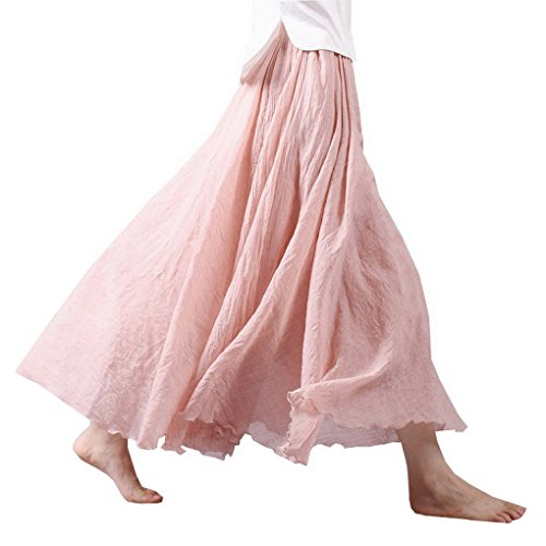 lunga pieghettato Donna Maxi lino Gonna Casual Rosa Gonna CwvPqAvz