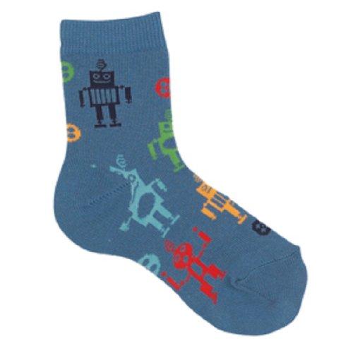 Country Kids Toddler 1 pr BLUE ROBOT Socks 1-2 yrs