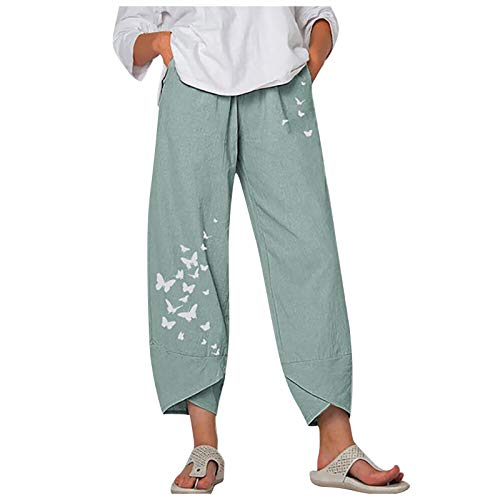 TONGHANG Women's Pants Harem Sweatpants for Women Baggy Pant Boho Cotton Linen Capri Trouser with Pockets