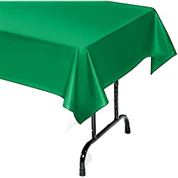 12-Pack Plastic Tablecloth - 54 In. X 104 In. Rectangle Table Covers (Green, 54 In. X 104 In. Rectangle)