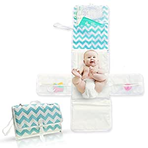 Portable Baby Changing Station | Travel Diaper Changing Pad | Lightweight Baby Changing Pad | Extra Large Padded Head Cushion | Portable Changing Pad | 5 Pockets for Storage | Clutch