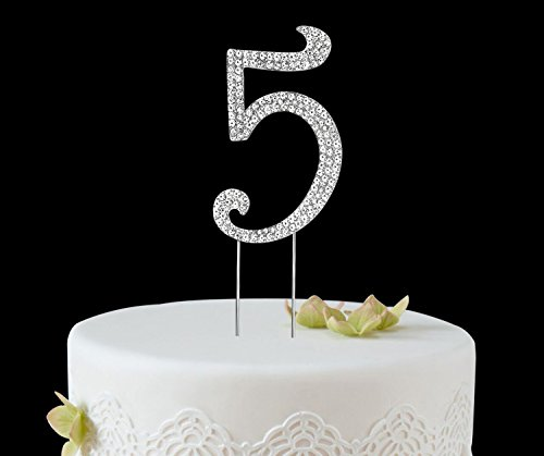 BABEYOND Rhinestone Crystal Number Cake Topper Picks 1/2/3/4/5/6/7/8/9/0 for Birthday Wedding Anniversary Party Supplies (Silver-5) (3/4 Rhinestone)