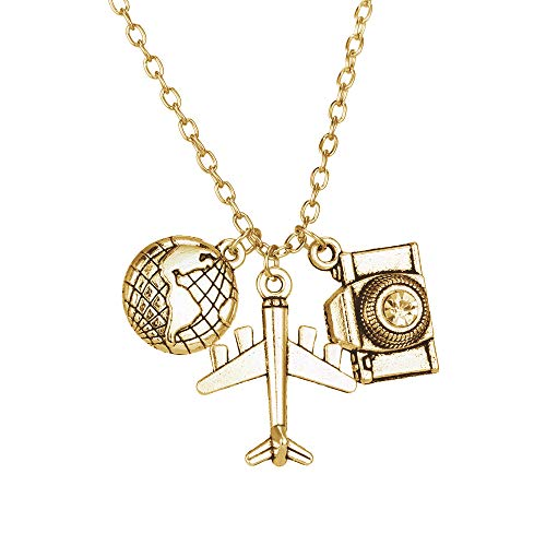 - NOUMANDA Vintage Tone Earth Plane Camera Travel Necklace Fashion Personalized Pendant Traveling Around The World Traveler's Gift (Antique Gold)