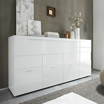 M-012 Buffet Blanc laqué Design 4 Portes 1 tiroir Lina: Amazon.fr ...