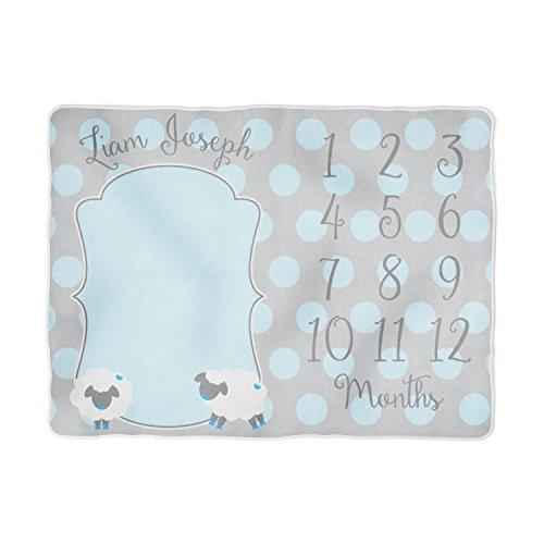 Baby Milestone Blanket, Personalized Blue Little Lamb Baby Month Blanket, Baby Boy Fleece Or Minky Blanket (60x80) (Gund Lopsy Lamb Comfy Cozy Baby Blanket)