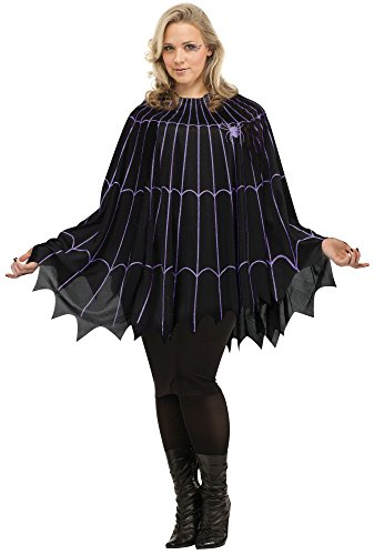 Spider Costume For Adults (Spider Web Poncho Plus Size Costume Black/purple (Plus Size 16W-24W))