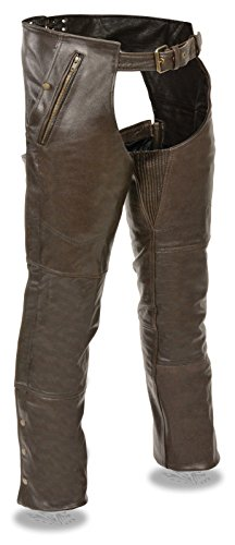 Brown Leather Motorcycle Chaps - 8
