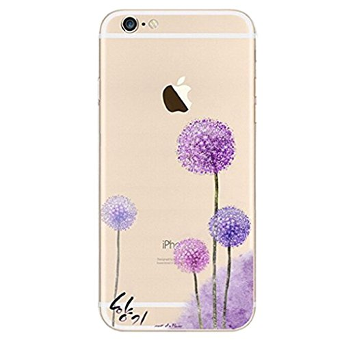 For iphone 7 plus case,Transparente TPU Coque Silicone Case Ultra Slim Premium Soupe Skin de Protection Pare-Chocs Anti-Choc Hülle pour Apple iPhone 7 plus (5.5 pouces)-Pissenlit pourpre