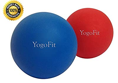 Premium Lacrosse Massage Balls Set By YogoFit - Great For Myofascial Release, Trigger Point Therapy, Muscle Knots, and Yoga Therapy Hard & Firm Rubber - Bundle of 2 by LAX Stars