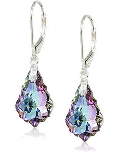 Sterling Silver Leverback Dangle Earrings Vitrial Light Purple Swarovski Elements Crystal Earrings #SSE4 ()