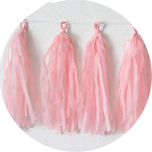 10pcs 12inch Colorful Confetti Balloon Happy Birthday Balloons Baby Shower Decorations,5pcs Pink Tassel ()