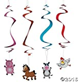 Barnyard Animal Farm Party Hanging Swirl Decorations - 12 pc by Party Supplies