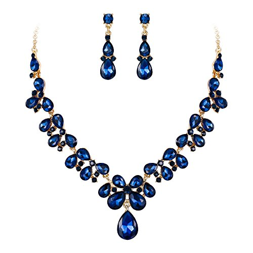 Blue And Gold Costumes - BriLove Wedding Bridal Necklace Earrings Jewelry
