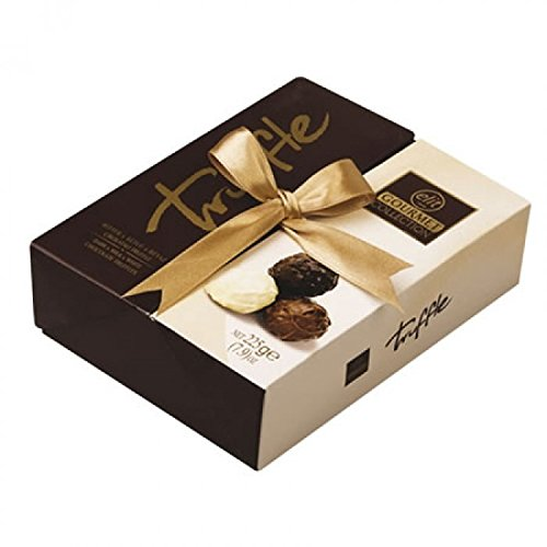 Filling White Chocolate (Elit - Gourmet Collection Chocolate Truffles (Dark, Milk & White Chocolate Truffles with Hazelnut Cream filling) Gift Box with Ribbon (Classic - 225 gr) (15 Count))
