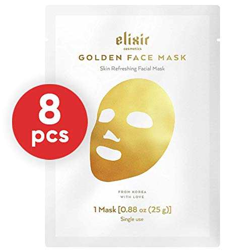Elixir Cosmetics 24K Gold Korean Collagen Face Mask - Anti-Aging & Moisturizing Peel Off Facial Sheet Mask - 8 Pack