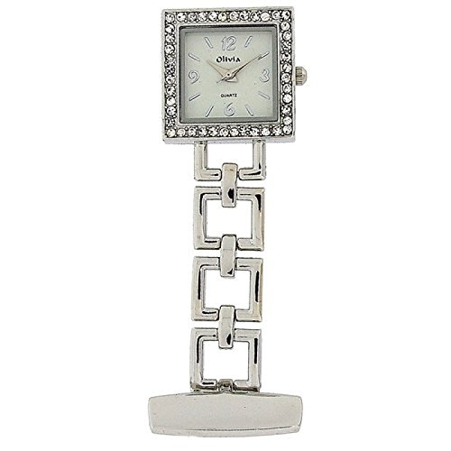 The Olivia Collection Silver Tone Square Open Link Professional Fob Watch TOC71 (Silver Tone Link Open)