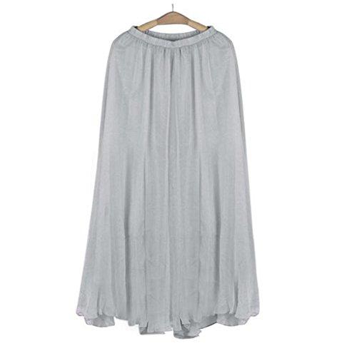Dcontracte de lastique Gris de en Maxi de Taille Femmes Jupe Mousseline Vovotrade Longue Soie Robe Plage Zx5w6SEYq