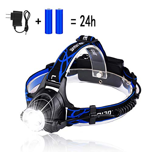 (LED Headlamp with 3 Lighting Modes, HUNLEE 1200 Lumen USB Rechargeable Headlamp Flashlight with Zoomable Work Light, Waterproof LED Headlight Flashlight Sustainable Work 24 Hours for Running, Camping)