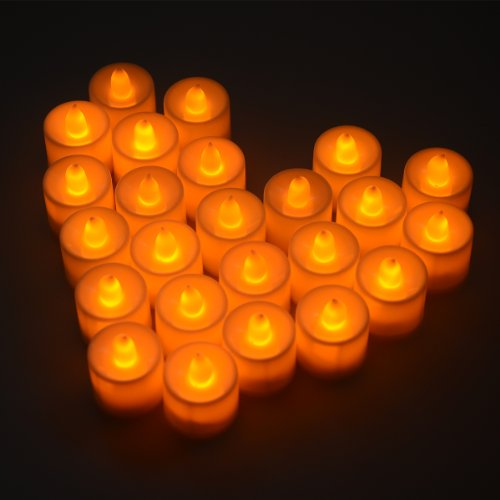 Set of 24 Flickering Flameless LED Candle Light Tea light Amber Yellow for Wedding Party Club Decor in White LD009