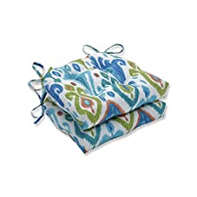 """Pillow Perfect Indoor/Outdoor Paso Caribe Reversible Chair Pad (Set of 2) 16"""" x 15.5"""" x 4"""" Blue 2 Piece"""