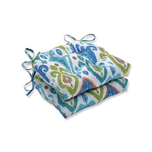 Pillow Perfect 620145 Indoor/Outdoor Paso Caribe Reversible Chair Pad (Set of 2), 16