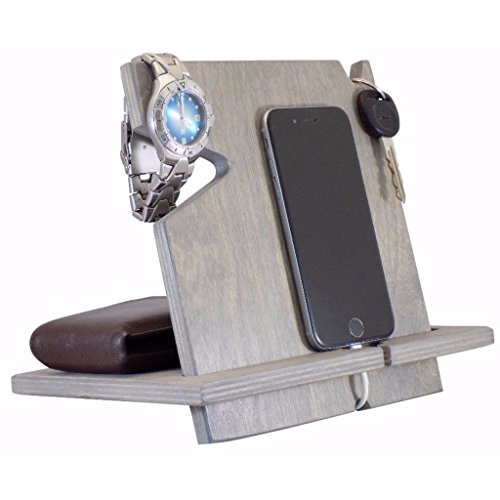 Universal Wooden Docking Station, Valentine's Day Gifts For Men, Gifts For Dad, iPhone, Android Docking Station, Gifts For Husband, 5th Anniversary Gifts For Him (Classic Gray-non personalized)