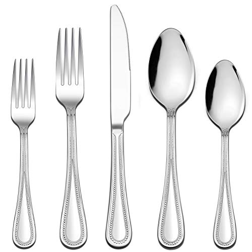 LIANYU 20-Piece Silverware Set, Stainless Steel Flatware Set for 4, Fancy Cutlery Eating Utensils with Pearled Edge…